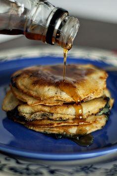 Blueberry-Cornmeal Pancakes  http://www.heatherlikesfood.com/blueberry-cornmeal-pancakes/