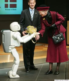 A Brief History Of World Leaders Greeting A Japanese Robot | Queen Margarethe of Denmark, right, is welcomed by Honda robot ASIMO in Tokyo. (Pictures)