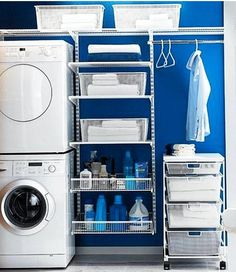 31 Cool Small Laundry Room Design Ideas, A laundry room doesn't need to be a boring location. It need not be boring and basic. Sometimes, it could serve as a storage room as well, where you c. Blue Laundry Rooms, Laundry Closet, Laundry Room Organization, Laundry Storage, Small Laundry, Laundry Room Design, Storage Room, Closet Storage, Laundry Area