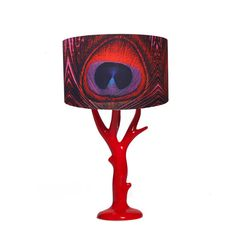 Red Feather Print Resin Base Lamp by ZEDHEAD on Etsy