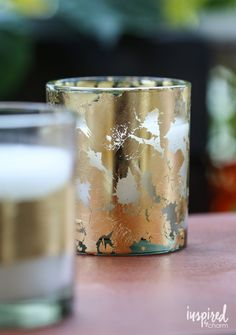 DIY Gold-Leaf Citronella Candles | Inspired by Charm