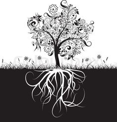 Stock vector of 'Decorative tree and roots, grass, vectorr illustration'