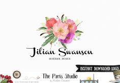 Floral Watercolor Photoshop Logo Template - website logo, blog logo, boutique logo,
