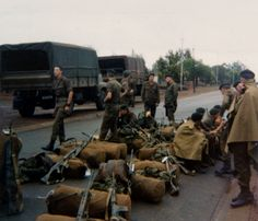Originally Foxtrot company - which became Bravo company, 3 SAI, November 1979 - about to leave from Potchefstroom to go to Waterkloof to catch our 'flossie'. Military Life, Military Art, West Africa, South Africa, Army Day, Brothers In Arms, Defence Force, Troops, African