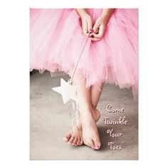Fill in your own party information on this cute ballerina birthday invitation. Photograph of a little girl in a pink tutu with a sparkly fairy wand. Ballerina Birthday Parties, Ballerina Party, Princess Birthday, Ballerina Pink, 4th Birthday, Birthday Cards, Vision Board Diy, Isadora Duncan, Pink Tutu
