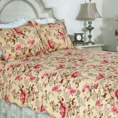 This classic romantic pink rose floral print on a butter cream background in all cotton makes for a classic quilt ensemble. This quilt is pre-washed and pre-shrunk.