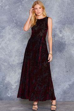 Burned Velvet Burgundy Floral Princess Maxi Dress - Limited - Sale