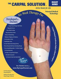The carpal solution is a home treatment system developed by doctors that works for over 97 percent of people. It will likely work for you too.   It works on hands even after a failed Carpal Tunnel Surgery - Patients are so grateful for a treatment that works!