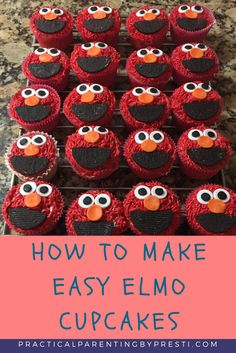 How to make easy Elmo cupcakes. Great for children's parties. Easy DIY