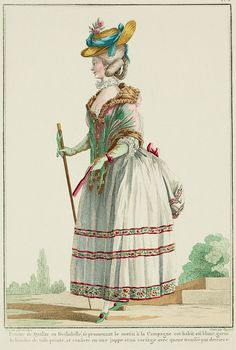 """Demi-polonaise, or polonaise à la liberté.  It is a diminutive version of the bottom part of the gowns that Court Ladies, obligated by etiquette to be seen in public in the morning, adopted long ago, which made a rather happy addition to the new fashions.    The demi-polonaise consists of a petticoat, to which is attached the bottom of the polonaise, or simply a polonaise tail pulled up as usual; it is as comfortable as it is pretty, has the double advantage of making one appear fully dressed."""