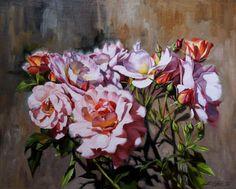 """""""Roses in Pavlovsk"""" Canvas, oil. 40x50 sm."""