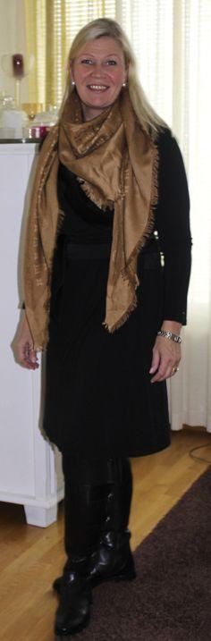 black dress, Louis Vuitton shawl