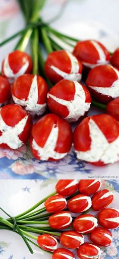 Great for any event ocasión Tomates finger food design Cute Food, Good Food, Yummy Food, Yummy Snacks, Salada Caprese, Snacks Für Party, Party Appetizers, Tomato Appetizers, Food Decoration