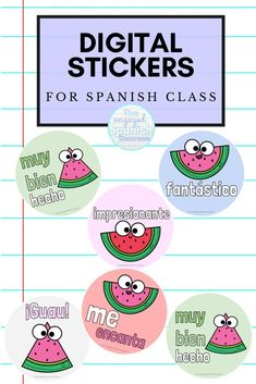 Looking for a way to make distance learning more fun and to create more connections with your students? These digital stickers might be exactly what you're looking for! They can be added to any Google Doc or Google Slide that you assign in your secondary Spanish class, and they're full of different Spanish terms and phrases to praise and encourage students. The theme of this particular set of stickers is watermelons, and there are 12 digital stickers included! Click through to grab them now! Study Spanish, Spanish 1, Spanish Lessons, Spanish Activities, Learning Spanish, Middle School Spanish, Grammar Lessons, Spanish Classroom, Student Motivation