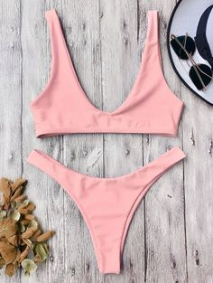 SHARE & Get it FREE | High Cut Scoop Bikini Set - Pink SFor Fashion Lovers only:80,000+ Items • New Arrivals Daily Join Zaful: Get YOUR $50 NOW!