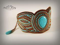 bracelet, bead embroidery, beading, toho, handmade, jewelry, manchette, bead
