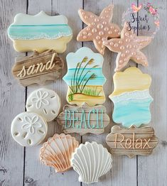Looking forward to putting my toes in the sand for the next few days!! #sweetsophiascookies #decoratedcookies #beachcookies #edibleart…