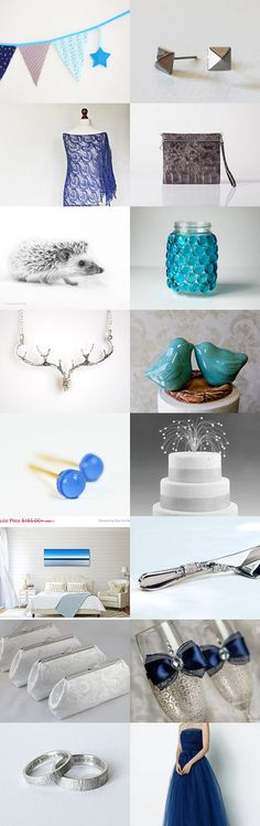 Silver and blue by Anat Dahari on Etsy--Pinned with TreasuryPin.com