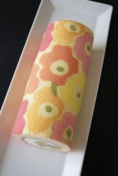 マリメッコ柄のデコロール - Junko's Sweet Cake style - cute flower cake roll - use translator, nice visuals for a DIY