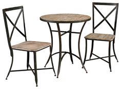 Driftwood Iron Round Antique Black Metal and Wood Table and 2 Side Chairs. Combining rustic and industrial, the Driftwood Iron Table and Chair Set stand on sturdy metal legs, with small ball feet. The Round metal and wood table, features an expansive wea Powell Furniture, Iron Furniture, Dining Furniture, Modern Furniture, Kitchen Dining Sets, Dining Room Sets, Table And Chair Sets, A Table, Contemporary Dining Sets