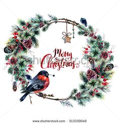 Watercolor Boho Christmas Wreath Made of Dry Twigs, Pine Branches, Red Hawthorn and Holly Berries, Feathers with a Bullfinch Sitting on It. New Year Winter Decoration Isolated on White. Vintage Style.