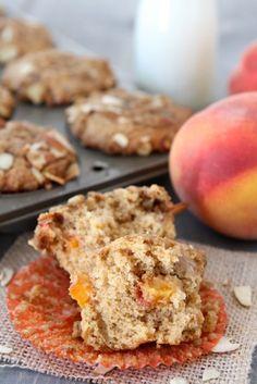 Peach Almond Muffin Recipe from www.twopeasandtheirpod.com #recipe