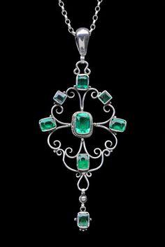 ARTHUR GASKIN 1862-1928 GEORGIE GASKIN 1866-1934. Arts Crafts Pendant: Silver Emerald Paste. H: 9 cm (3.54 in); W: 3.9 cm (1.54 in) British, c.1917 (Ref: 3915)