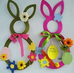 40 easy diy spring crafts ideas for kids Decoration Creche, Paper Decorations, Bunny Crafts, Easter Crafts For Kids, Children Crafts, Easter Activities, Preschool Crafts, Diy And Crafts, Arts And Crafts