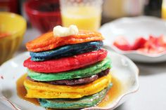 Easter (or any particular holiday) tradition of making rainbow pancakes. pretty and yummy!