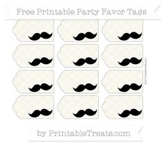 Free Eggshell Checker Pattern Mustache Party Favor Tags