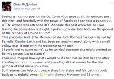To help out a probably-incredibly-upset Benedict-fan, please spread the word on your Sherlock or Benedict boards! It's so cool this person took the time to try and return it. There are good people out there! Sherlock Fandom, Sherlock Holmes, Geek Out, Nerd Geek, Sherlolly, 221b Baker Street, It Goes On, Johnlock, Martin Freeman