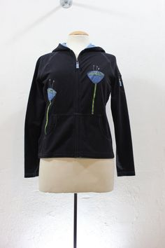 Up Cycled Black with Blue accents Hoodie with by sardineclothing
