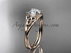 14kt rose gold celtic trinity knot wedding ring, engagement ring CT7189                                                                                                                                                                                 More