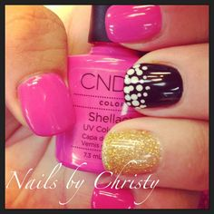 Love The Pink, Black and Gold Nails on Shellac! Fun!!