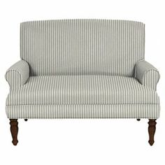 """Striped roll arm loveseat with turned legs.  Product: SetteeConstruction Material: Engineered wood, foam, polyurethane, and polyesterColor: Light blueFeatures:  Tight backRolled armsDimensions: 38"""" H x 49"""" W x 34"""" D"""