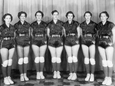 The All American Red Heads was one of the first professional women's basketball teams. Established in 1936, this exhibition team barnstormed the country and played until 1986. The 1937 All American Red Heads. Left to right: Peggy Lawson, Hazel Smith, Gladys Lommler, Ruth Osborn, Kay Kirkpatrick, Lela Mae Blue, and Hazel Vickers.