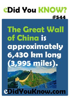 The Great Wall of China is approximately 6,430 Km long (3,995 miles).