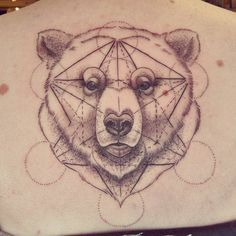 Geometric bear tattoo by Alex M Krofchak at The Tattooed Arms. Back Tattoo. Dotshaded. Dotwork. Blackwork. Using the Cube of Metatron.