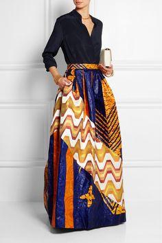Duro Olowu   Printed cotton-poplin and silk-jacquard maxi skirt   NET-A-PORTER.COM ~African fashion, Ankara, kitenge, African women dresses, African prints, African men's fashion, Nigerian style, Ghanaian fashion ~DKK
