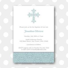 Printable Baptism Invitation  Elegant Border by inglishdigidesign, $10.00
