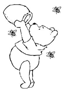 Honey Winnie the Pooh Sketches   Winnie the Pooh, with his honey pot, picture to color