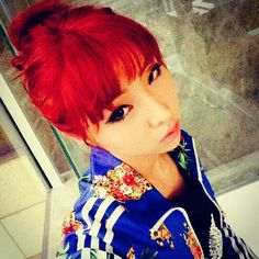 Minzy with red hair