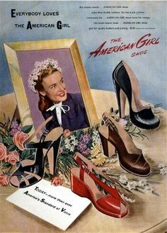 1940s Shoes, Vintage Shoes, Vintage Outfits, Vintage Clothing, Shoes Ads, New Shoes, Mode Vintage, Vintage Ads, Retro Ads