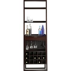 Sloane Espresso Leaning Wine Bar in Bar Cabinets   Crate and Barrel