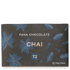 It's our beloved T2 Chai, perfectly immortalised in a bar of chocolate magic! Heady with cloves, cardamom and star anise with a generous dusting of cinnamon, this sweet, spiced bite is as cosy and comforting as the real deal.  <br> <br> <br> We deliver all our domestic orders with Australia Post and as Pana chocolate is heat-sensitive, we can't guarantee product integrity on arrival.