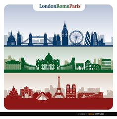 This set has three banners showing skylines of three of the most important cities in Europe and the world: London, Rome, and Paris. These three city skylines show the greatest monuments and landmarks. Use these in your websites or promos related to tourism and travel. Have a nice wedding! Under Commons 4.0. Attribution License.