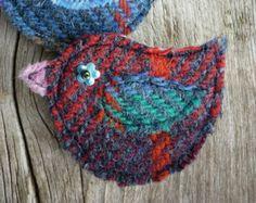 Harris Tweed Bird Brooch, Red, Purple Green Blue Tartan Wool, Handmade - Edit Listing - Etsy