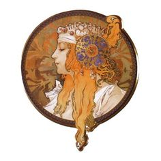 Alphonse Mucha | Fine Art Canvas Prints ❤ liked on Polyvore featuring backgrounds, art, vintage, people and circle