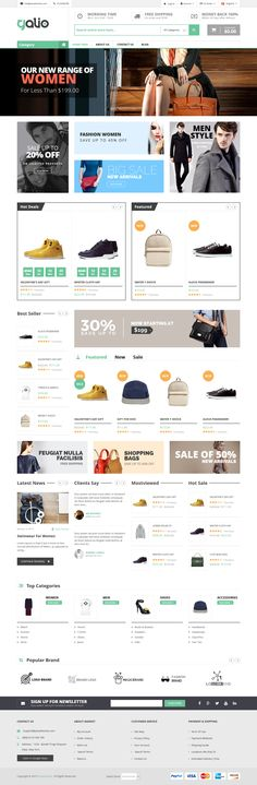 Galio Magento Theme is created for digital store, fashion store, accessories store. The template provides your #store an additional informative blocks on the homepage, such as Free Shipping, contact information, nice images with texts. Your new visitors are able to see Testimonial and Blog module right on home page, that will help them to make a decision about purchase in your store faster. #Discount products with #countdown timer are displayed beautifully in slider. #webdesign #eCommerce