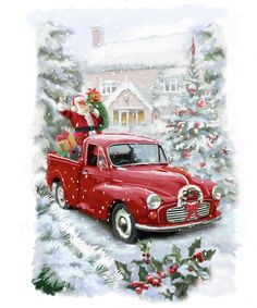 50 Creative & Classy DIY Christmas Table Decoration Ideas - The Trending House Christmas Red Truck, Blue Christmas Decor, Diy Christmas Garland, Christmas Scenes, Christmas Pictures, Christmas Art, Vintage Christmas, Christmas Decorations, Illustration Noel